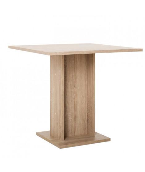 GUSTAVE Table a manger carrée de 2 a 4 personnes classique décor chene - L 80 x l 80 cm