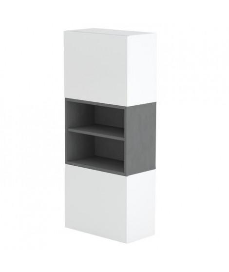 MAYA Meuble a chaussures contemporain mélaminé laqué blanc et décor ardesia -  L 50 cm