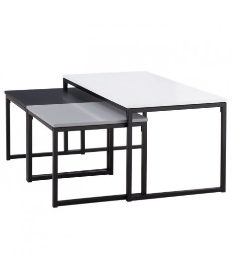 SQUARE 3 tables gigognes style contemporain blanc, noir et gris laqués mat - L 100 x l 50 cm et 2 x L 47 x l 45 cm