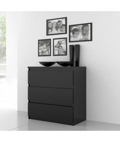 FINLANDEK Commode de chambre NATTI style contemporain noir mat - L 77,2 cm