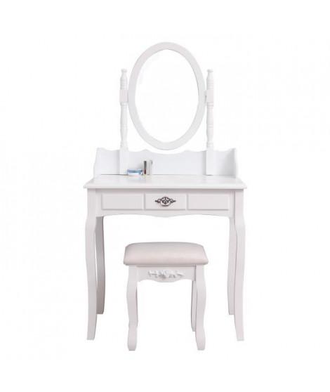 Coiffeuse classique blanche + tabouret - L 75 cm