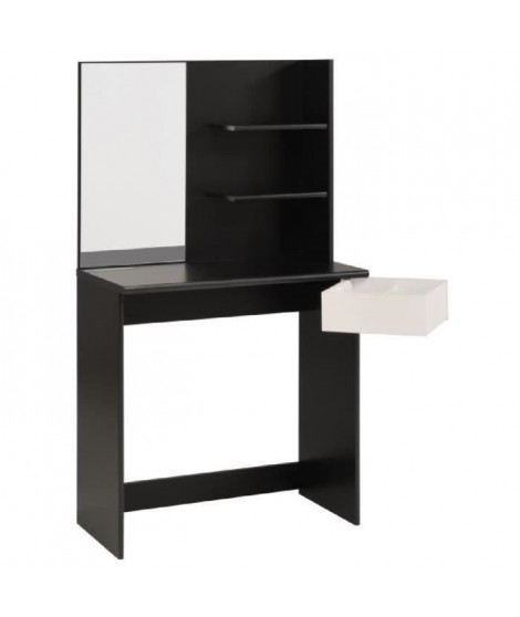 FASHION Coiffeuse style contemporain noir et blanc mat - L 75 cm