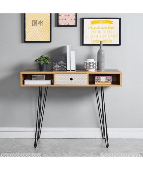 COLETTE Console vintage décor chene et imprimé  beige + pieds en métal noir laqué - L 100 cm
