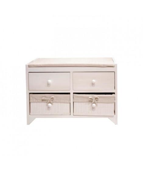 ROMA Petit meuble de rangement de salle de bain L 60 cm - Laqué blanc brillant