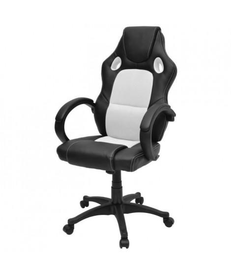 DRIFT Fauteuil de bureau gaming design baquet - Simili noir et tissu blanc - Style contemporain - L 70 x P 64 cm