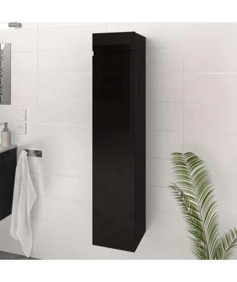 LUNA / LIMA Colonne de salle de bain L 25 cm - Noir brillant