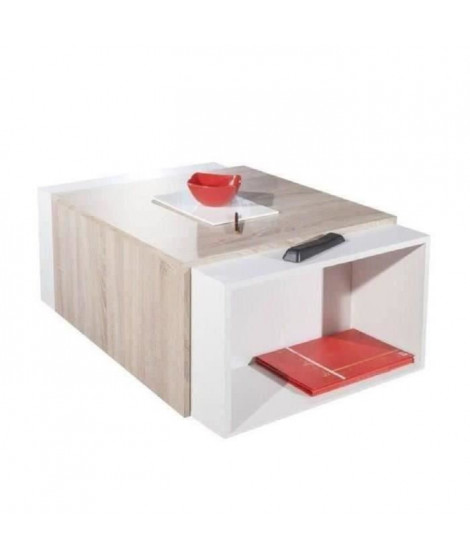 CHARLY Table basse transformable style contemporain blanc et décor chene - L 120 x l 38,5 cm