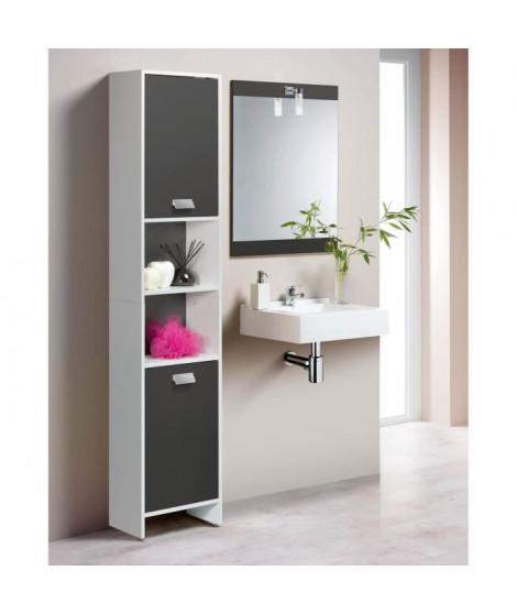 TOP Colonne de salle de bain L 40 cm - Blanc et gris mat