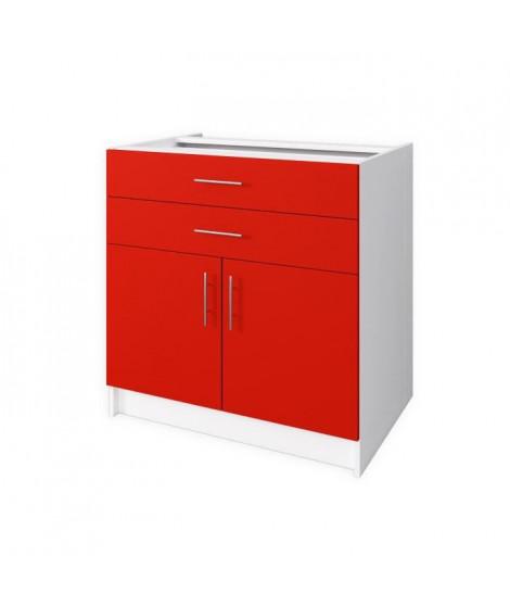OBI Meuble bas de cuisine L 80 cm - Rouge mat