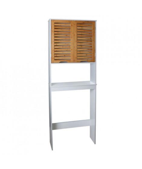 LINDA Armoire WC L 63 cm - Blanc et décor bois