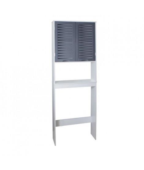 LINDA Armoire WC L 63 cm - Blanc et gris
