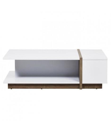 PANAMA Table basse style contemporain placage bois blanc et décor chene - L 110 x l 60 cm