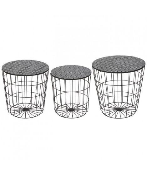 AUSTRAL 3 tables basses rondes style contemporain en métal noir - D 35 cm - 40 cm et 45 cm