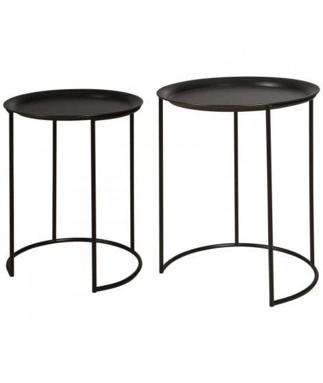 FRESH Set de 2 Tables basses style contemporain métal noir - L 40 x l 40 cm et L 35 x l 35 cm