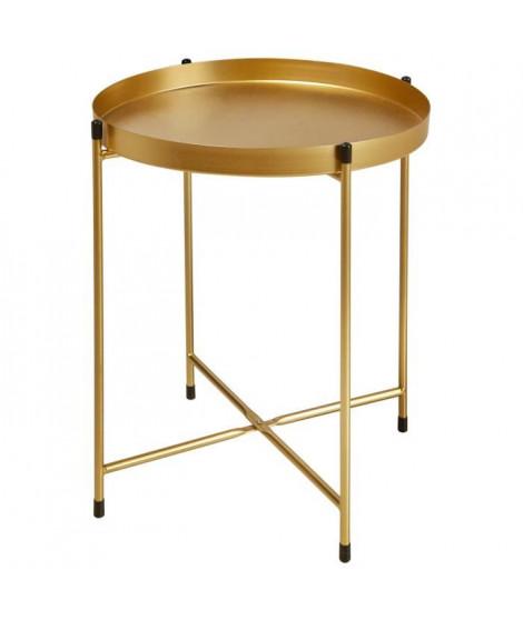 TERRANO Table basse style contemporain en métal doré - L 41 x l 38 cm