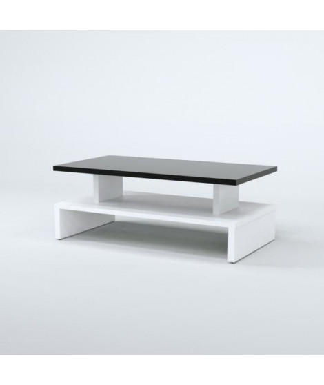 AFTER Table basse style contemporain noir et blanc satiné - L 97 x l 51 cm