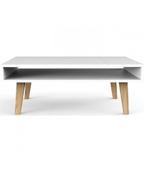 LONDON Table basse scandinave laquée blanc mat - L 100 x l 60 cm