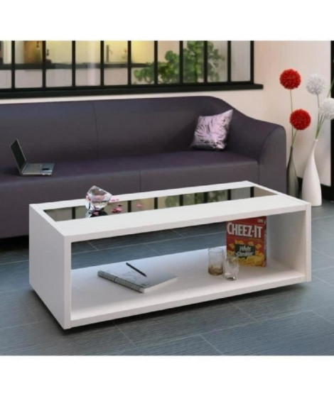 DANY Table basse style contemporain blanc et noir brillant - L 116 x l 51 cm