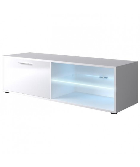 KORA Meuble TV contemporain blanc brillant - L 118cm