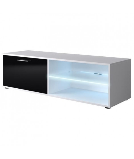 KORA Meuble TV LED contemporain blanc et noir brillant - L 118 cm