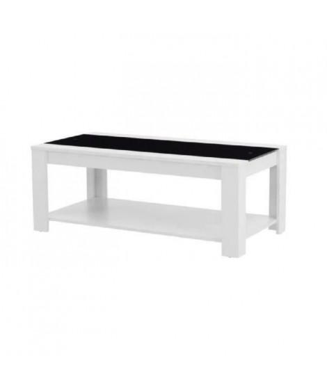 DAMIA Table basse style contemporain blanc et noir mat - L 110 x l 55 cm