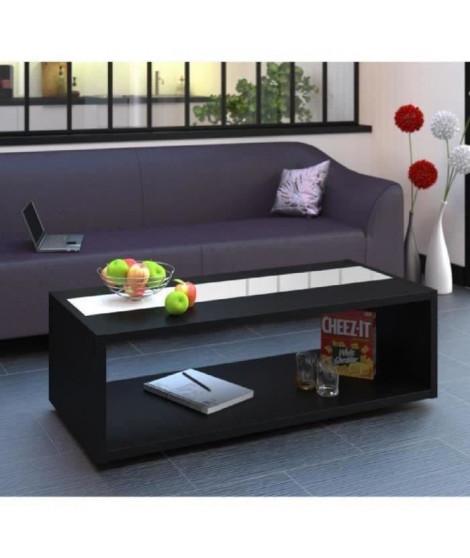 DANY Table basse contemporain  noir et blanc brillant 116 cm