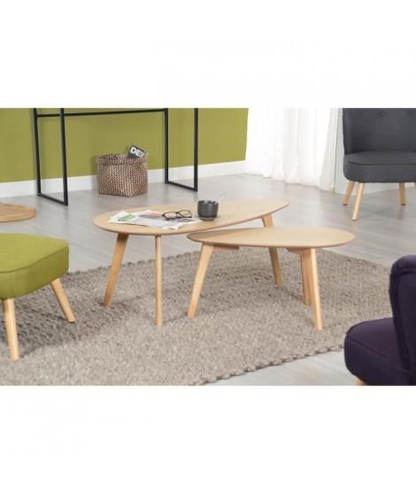 NATURA Tables gigognes scandinave placage chene vernis naturel - L 100 x l 50 cm et L 70 x l 35 cm