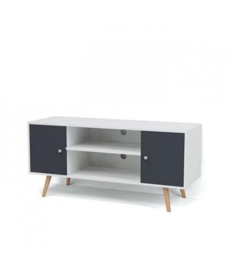 BABETTE Meuble TV scandinave pieds en bois gris foncé et blanc - L 116 cm