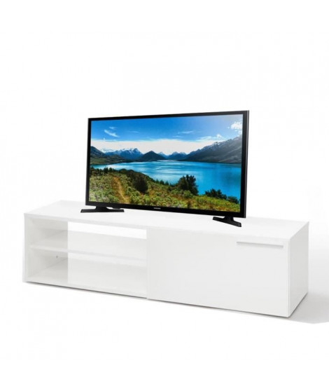 Ensemble meuble TV 130 cm blanc brillant + TV SAMSUNG 32""