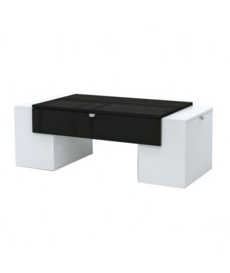 Lucky Table Basse Style Contemporain Noir Et Blanc Brillant L 123 X L 42 Cm