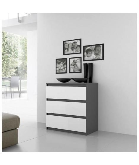 FINLANDEK Commode de chambre NATTI style contemporain gris et blanc mat - L 77,2 cm