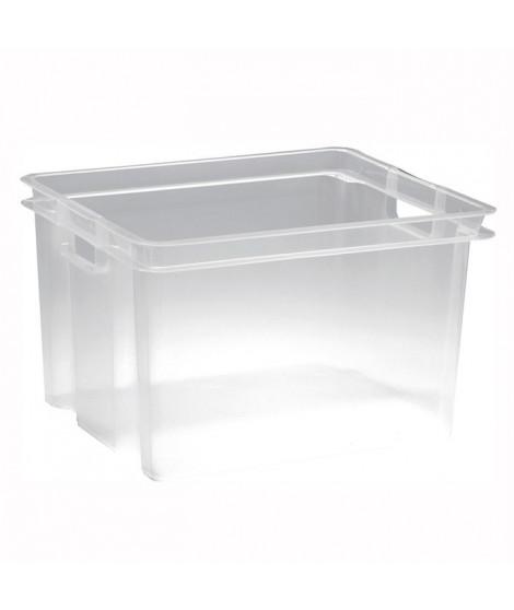 ALLIBERT Boîte de rangement transparent Crownest - Empilable - 30 L