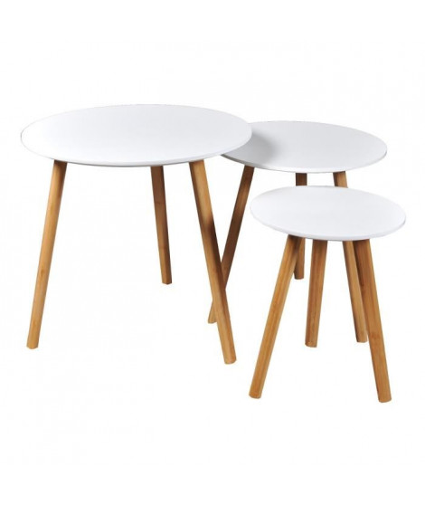 VENUS 3 tables gigognes rondes scandinave blanc laqué avec pieds en bois massif - L 50 x l 50 cm - L 40 x l 40 cm et L 30 x l…