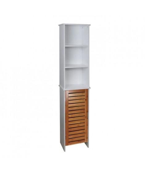 LINDA Colonne de salle de bain L 34 cm - Blanc mat et décor bois