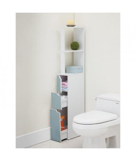 TOP Colonne de toilette L 15 cm - Blanc et bleu mat