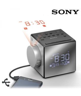 SONY - Radio réveil avec projection de l'heure-Tuner digital-Chargeur de téléphone-Batterie de secours-Argent