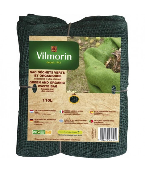 VILMORIN Sac déchets verts et organiques toile de jute - 110 L