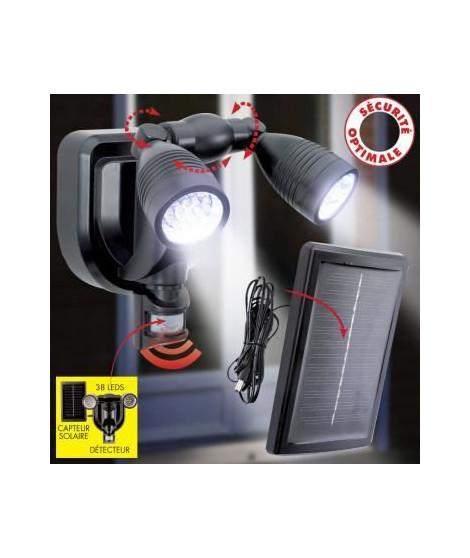 Double projecteur 38 LED non démontable - En PVC - 21 x 21 x 14 cm - Noir