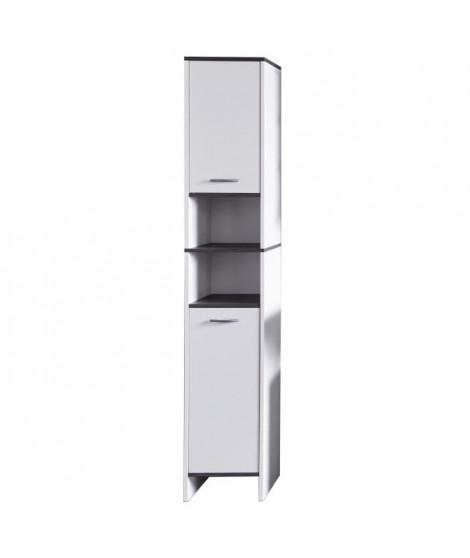 SAN DIEGO Colonne de salle de bain L 32 cm - Blanc mat et gris