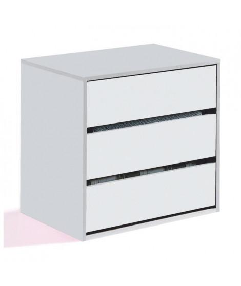 ANCHORAGE Commode de chambre - Contemporain - Blanc mat - L 57 cm