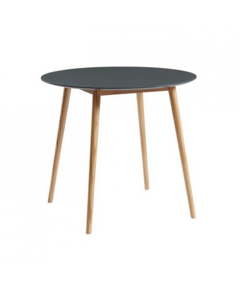 BABETTE Table a manger ronde de 2 a 4 personnes scandinave gris laqué satiné - Pieds en bois massif - ? 87 cm