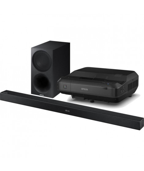 EPSON EH-LS100 Vidéoprojecteur Ultra Courte Focale Full HD 1920 x 1200px + Barre de son 2.1 Bluetooth 320W SAMSUNG HW-M450
