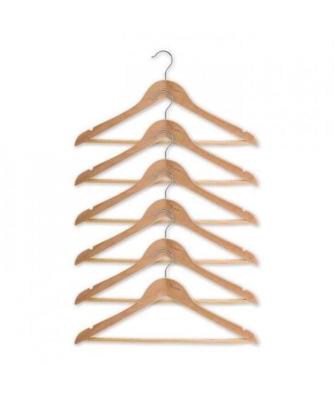 M-HOME Lot de 6 cintres galbés en bois - Avec encoches et barre - L 45 cm - Bois brut