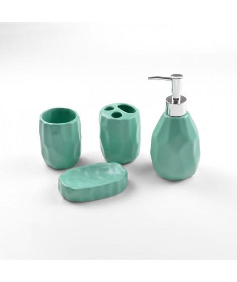 DOUCEUR D'INTERIEUR Lot de 4 accessoires de salle de bain Origami - Céramique - Vert menthe - Finition mate