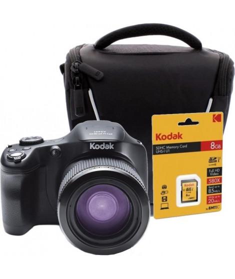 KODAK AZ651BK Appareil photo Bridge 1080p, zoom optique 65x + Carte mémoire SDHC 8GB + Sacoche pour appareil photo