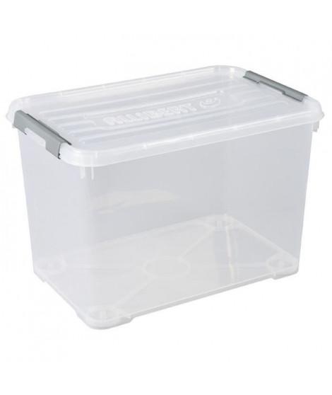 ALLIBERT Boîte de rangement Handy Plus - Clips gris - Couvercle transparent - 65 L