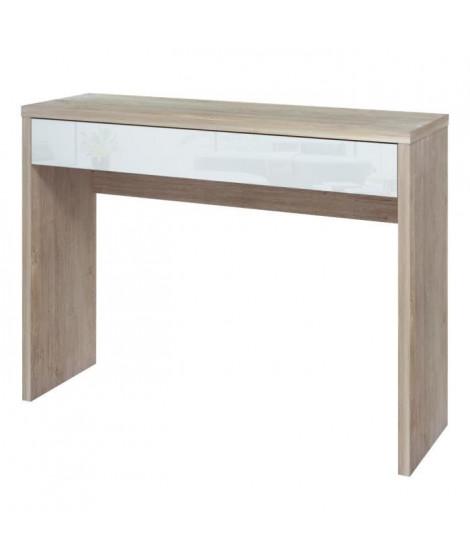 ARENA Console contemporain décor chene blanchi et blanc brillant - L 109 cm