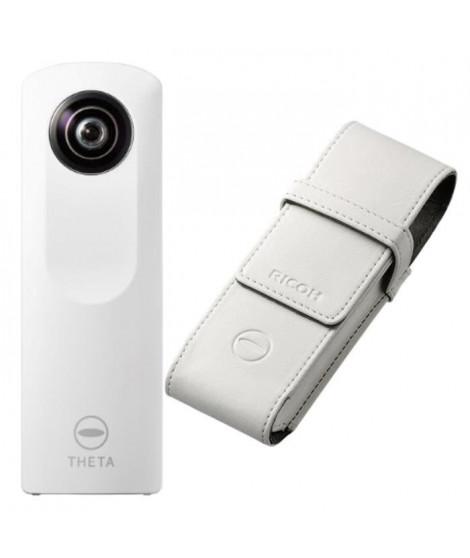 RICOH THETA m15 Caméra 360° - Wi-Fi - Blanc + RICOH TS-1 Etui souple pour caméra Ricoh Theta - Blanc