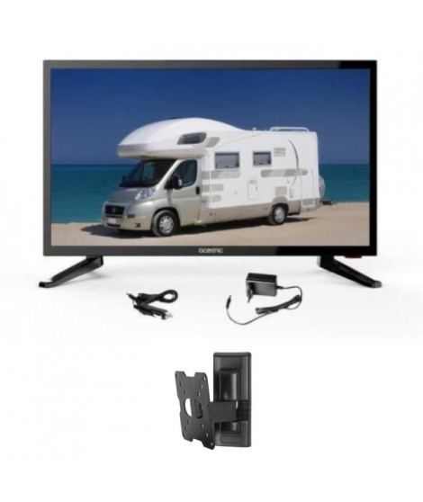 OCEANIC TV LED Camping Car + Support TV mural inclinable - TV HD 48.3cm (19'') 12-24V et 220V
