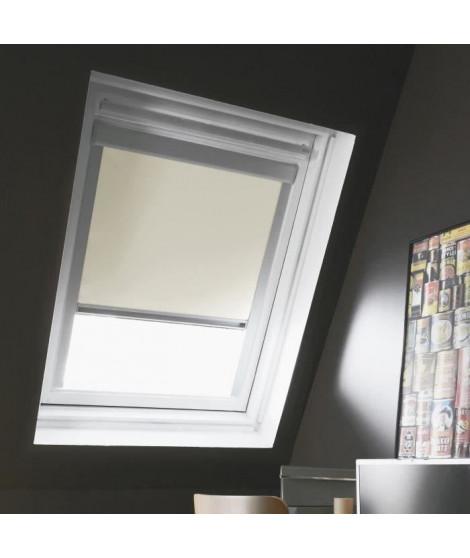 Store de fenetre de toit occultant VELUX C02/C04 -  L.55 x H.98 cm, recoupable a 78 cm - Beige